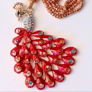 NEW! BRILLIANT RED PEACOCK SWEATER NECKLACE GOLD